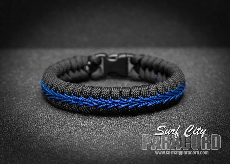 Police Thin Blue Line Stitched Fishtail Paracord Bracelet. - mens fashion jewelry, mens rings jewelry, mens designer jewelry