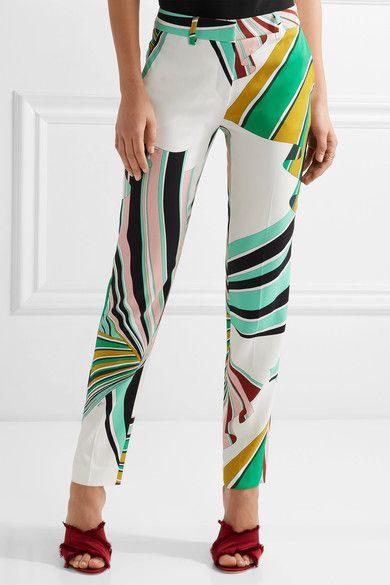Emilio Pucci - Printed Stretch-twill Skinny Pants - Green - IT42