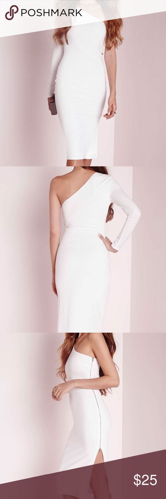 Missguided One Shoulder White Dress Missguided One Shoulder Zip Detail Midi Dress in white (Size: UK 4, EU 32, US 1, AUS 4) Brand New, Never Worn! Missguided Dresses One Shoulder