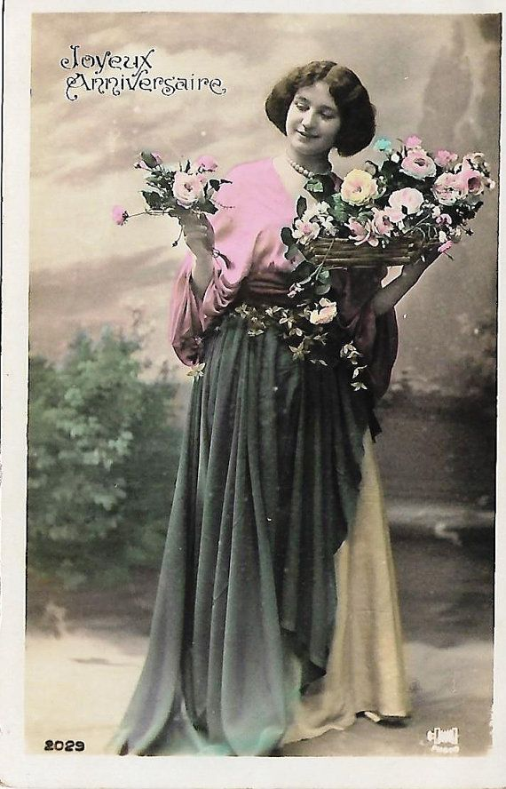 Unused card * Old new stock * Happy Birthday * French antique greetings postcard…