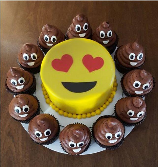 Emoji Heart Eyes Cake With Poop Cupcakes Pauline 8th