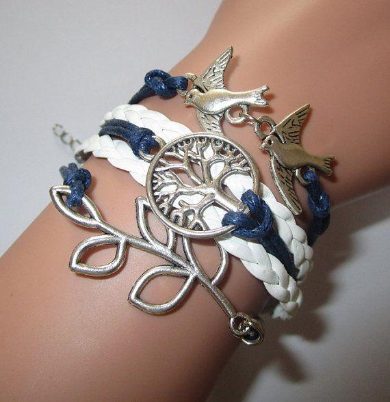 Bracelets,love birds bracelet,lucky leaf bracelet,wish tree bracelet,friendship bracelet,love bracelets,leather woven bracelet,personalized