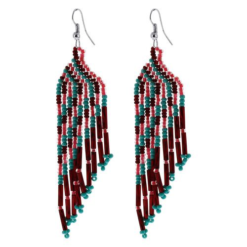 Stainless Steel Handmade Chandelier Earrings with Green, Pink and Maroon Beads