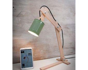 Bureau lamp hout pot metaal aanpasbare lamp lamp door EunaDesigns