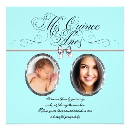 Pretty Teal Blue Photo Quinceanera Personalized Announcement