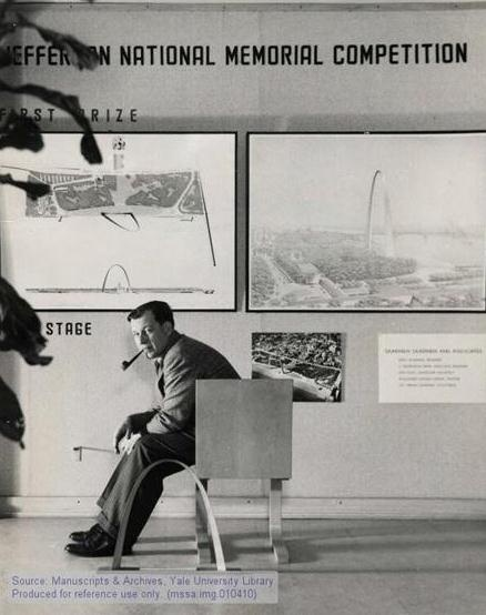 Eero Saarinen in front of his winning Gateway Arch design for St Louis He also designed the Sidney Opera House