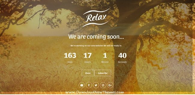 Relax is a minimal responsive #HTML5 template for #webdev coming soon / under construction website with countdown timer, Ajax subscription form, social icons & beautiful effects download now➩ https://themeforest.net/item/relax-responsive-coming-soon-html-template/19537237?ref=Datasata