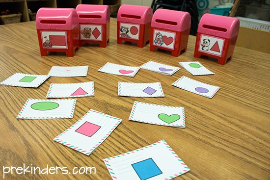 Valentine Mailbox Math Games with FREE Printables for Number and Shape Games from Prekinders