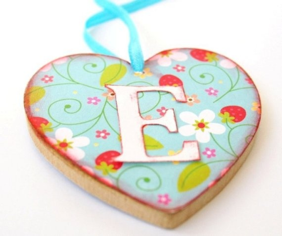 personalized wooden heart decoration, $9.99 USD