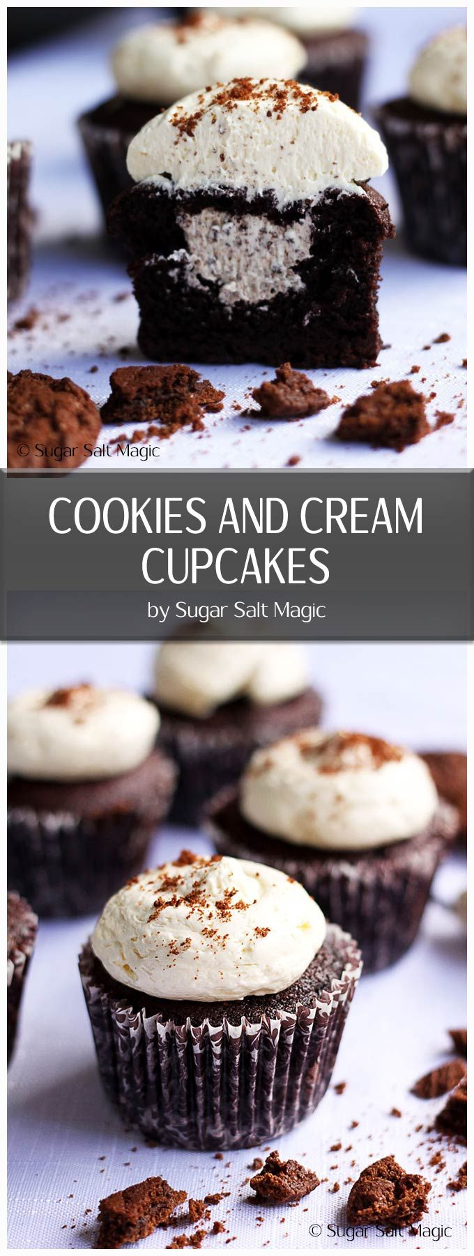 These Cookies and Cream Cupcakes are moist, perfect chocolate cupcakes with a creamy ermine buttercream frosting, creamy filling and a biscuit base. #chocolatecupcakes #cookiesandcream via @sugarsaltmagic