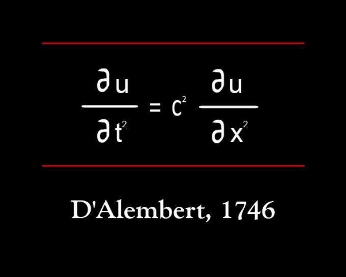 """Ecuación de Onda  El 8º puesto de las 17 ecuaciones que han cambiado nuestro mundo lo ocupa la """"Ecuación de Onda"""" (1746) de Jean le Rond d'Alembert, que no es sino una ecuación diferencial que describe cómo una propiedad está cambiando a través del tiempo en términos de derivado de esa propiedad; esto es, describe la propagación de una variedad de ondas, como las ondas sonoras, las ondas de luz y las ondas en el agua, lo que ayudó enormemente en los campos como el electromagnetismo, la…"""