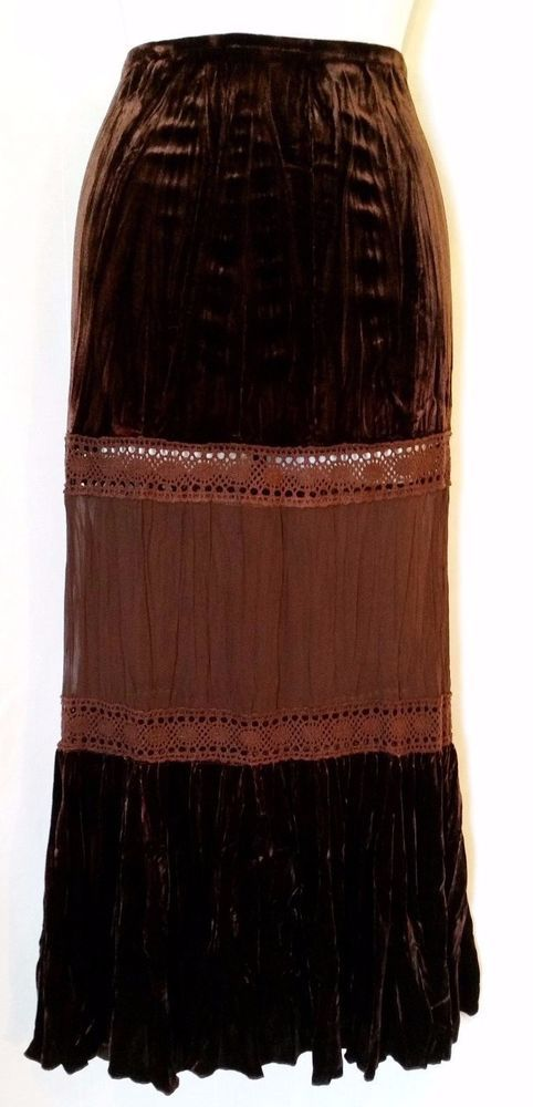 MISS ME Velour/Chiffon Brown Lace Crochet Long Skirt sz Large #MissMe #ALine