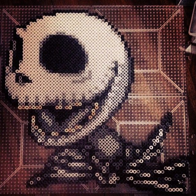 Jack Skellington Nightmare Before Christmas perler pixel art by herrchild