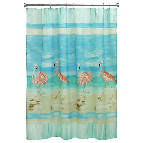 The Bacova Flamingo Beach Shower Curtain brings the beach to your bathroom. This shower curtain features a flamingo design. Vinyl liner recommended. Measures 70 in. x 72 in.