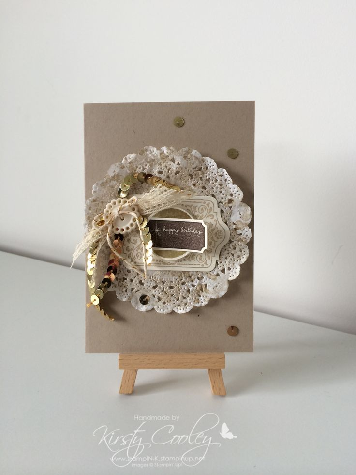 Created by Kirsty Cooley @ StampIN-K using Stampin' Up! Doilies, chalk talk stamp set, and embellishments.