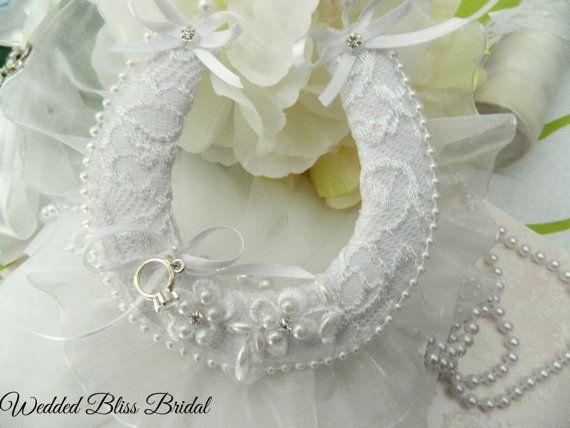 Wedding Bridal Horseshoe charm - White Pearl Trim Beaded Motif Horseshoe…