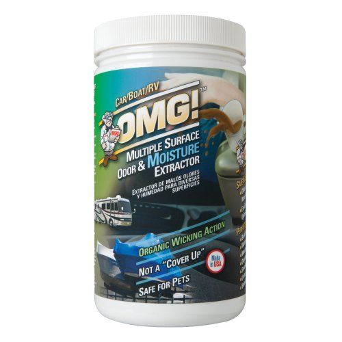 OMG Car, Boat, RV Stain and Odor Remover by OMG. $17.95. Perfect for: boat & rv storage, water damaged carpet, musty smells, organic odors, smoke, urine, vomit. Safe and effective on: older existing and new wet odor causing agents.. Safe and easy to use on carpets, upholstery, tile, wood, etc.. Omg – car, boat, & rv  is specially formulated to absorb moisture and odors in automotive carpet and upholstery. Excellent for rv and boat storage and for removing musty ...