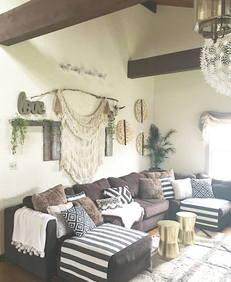 Boho Rustic Glam Living Room · Brown Sectional DecorBrown ...