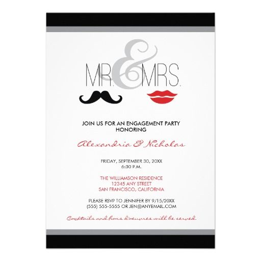 Mr Mrs Engagement Party Invitation Black