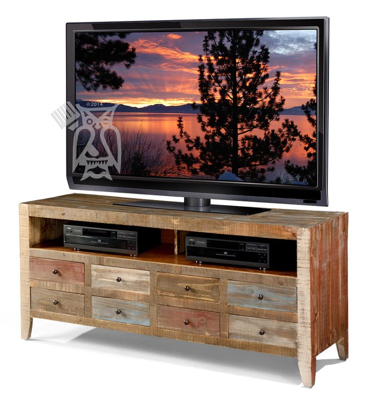 Solid Pine Wood Urban 8 Drawer TV Stand in Multi-colored Finish