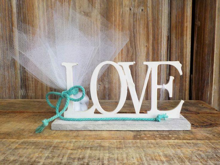 """Μπομπονιέρα ξύλινο στοιχείο """"love"""""""