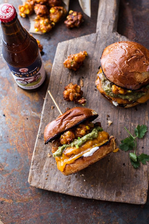 Smoky Chipotle Cheddar Burgers with Mexican Street Corn Fritters   halfbakedharvest.com @hbharvest