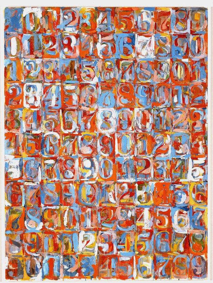 #JasperJohns Numbers in Color, 1958–59. Encaustic and newspaper on canvas. 66 1/2 x 49 1/2 inches. Collection Albright-Knox Art Gallery © 2013 Jasper Johns/Licensed by VAGA, NY. To create Numbers in Color, 1958-59, Jasper Johns painted the zero to nine numbers on the top row and down the left, and then repeated the sequence with a zero in the second row, a one in the third and so forth. While the numbers are consistent, the way Johns created each number varies!