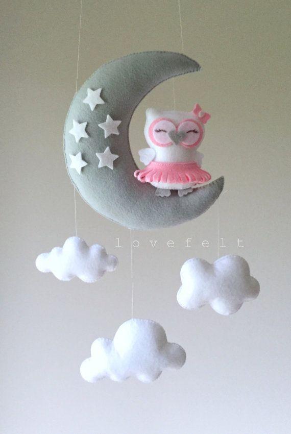 baby mobile owl mobile ballerina mobile pink gray mobile needlework pinterest filz. Black Bedroom Furniture Sets. Home Design Ideas