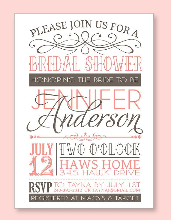 Bridal Shower Party PRINTABLE PDF Invitation from by lovetheday, $18 ...