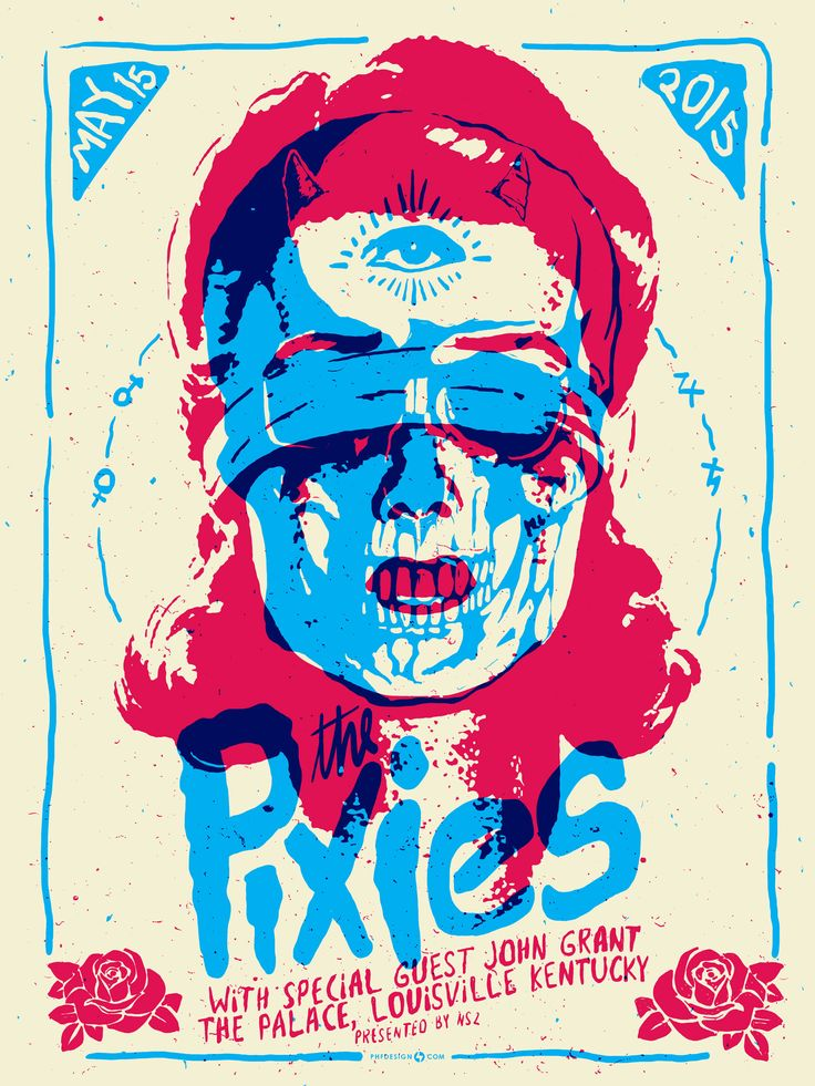 This 3 color poster was screen printed on heavy cream paper with acrylic inks for The Pixies. It was for Their show at the Palace Theatre in Louisville, KY in May 2015 #thepixies #gigposter #screenprint
