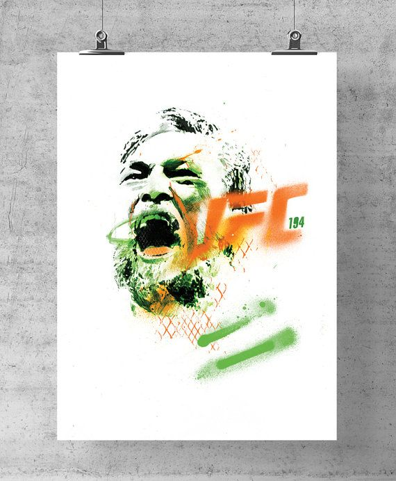 £15 Conor McGregor UFC 194 collectable limited edition A3 poster print, 250 gsm. Actual physical size: 17.7 inches H x 12.6 inches W. Slight bigger than A3 to allow for framing.  Irishman Conor McGregor is now the UCF featherweight champion of the world in Mixed Martial Arts. This is a limited edition run, of 10 artist signed high quality professional prints. 250gsm, numbered.  These are the highest quality prints. Expect nothing less!