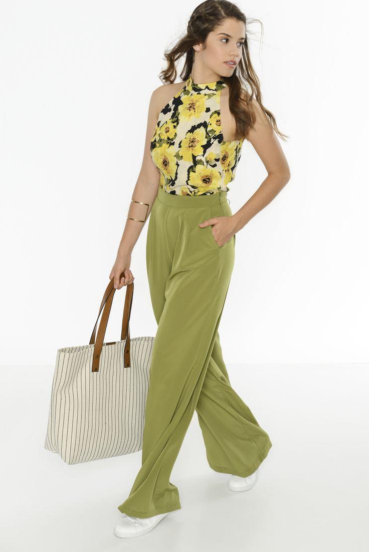 Yeşil bol pantalonlarla modayı yakalayın!