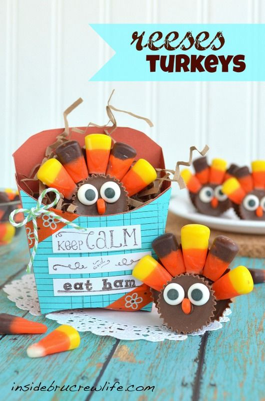 Reeses Turkeys - two different size Reeses cups and candy corn make these cute little turkeys  #reeses #candy http://www.insidebrucrewlife.com