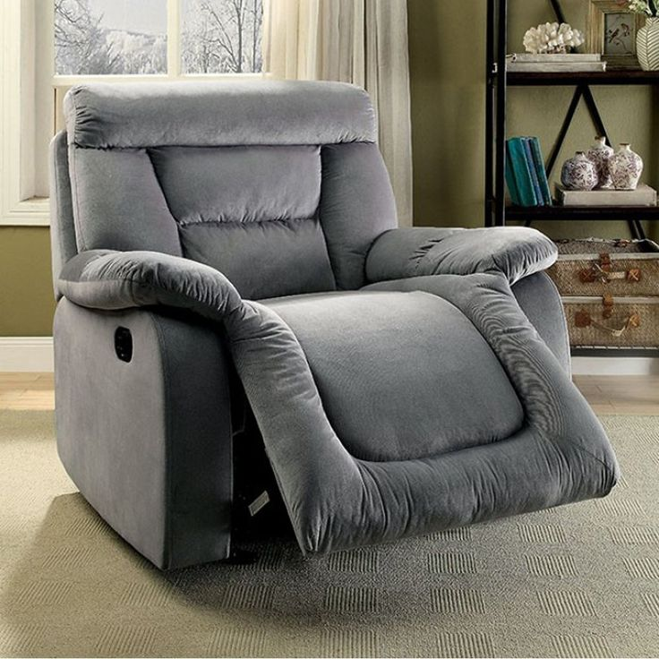 Benzara Moira Transitional Glider Recliner, Gray Finish, Size Standard (Bonded Leather)
