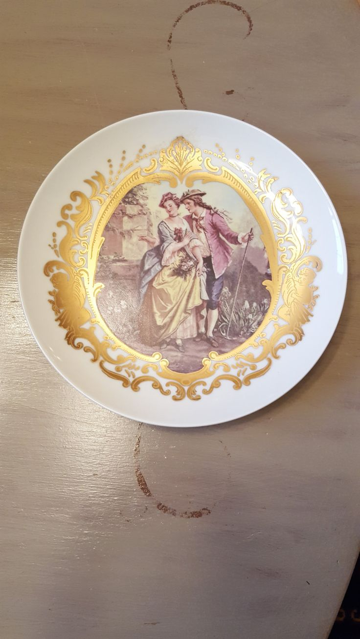 "Limoges China Plate~Vintage Limoges 8"" Plate~Beautiful Display Plate in Fine Limoges China~Image of Lovers~Signed Limoges~by JewelsandMetals by JewelsandMetals on Etsy"