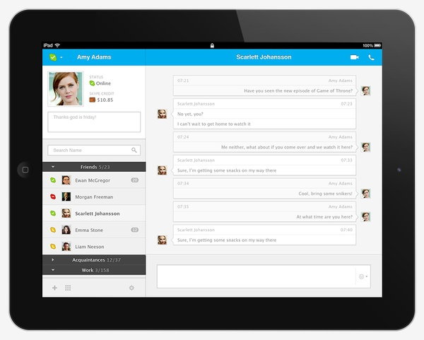 SKYPE UI by Leonardo Zakour, via Behance #skype #ui #design #app  #apps #tablet #android #ios #application #ipad #mobile