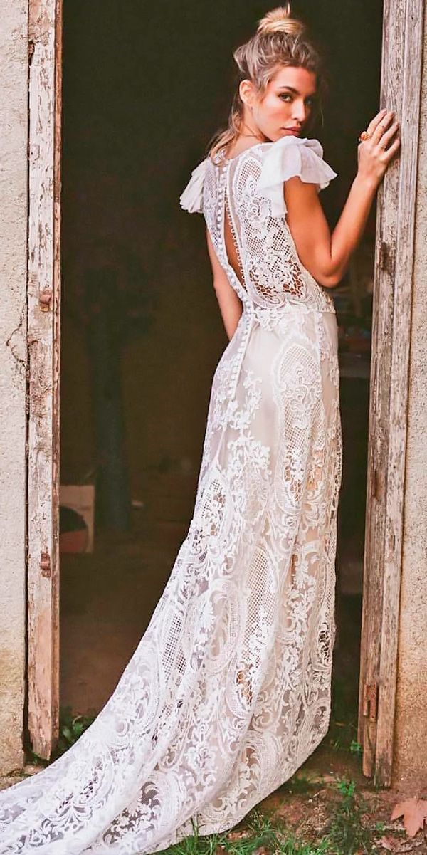 30 Boho Wedding Dresses Of Your Dream ❤ boho wedding dresses hippie lace with sleeves open back straight serafin сastillo ❤ See more: http://www.weddingforward.com/boho-wedding-dresses/ #wedding #bride