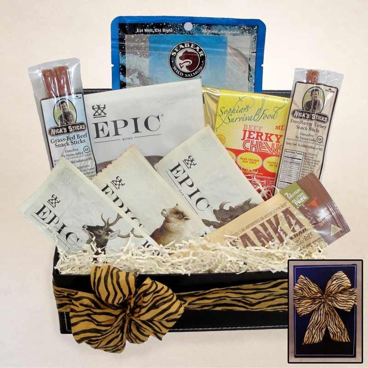 55 best gift archive images on pinterest gift basket gift baskets filled with three flavors of epic protein bars grass fed beef jerky turkey and beef sticks buffalo cranberry bar bacon bites and wild salmon negle Image collections