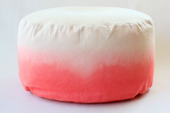 FREE SHIPPING - Ombre Coral Pink Dip Dye / Ombre / Mini Bean Bag / Foot stool cover - Hand dyed