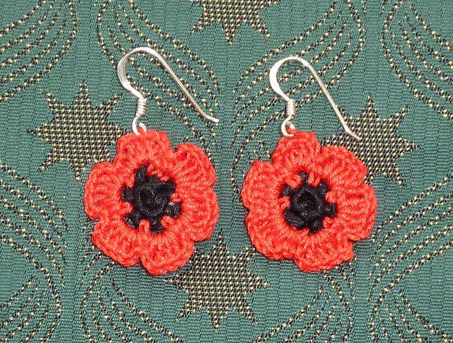 Ravelry: Pretty Poppy Earrings pattern by Janet McMahon
