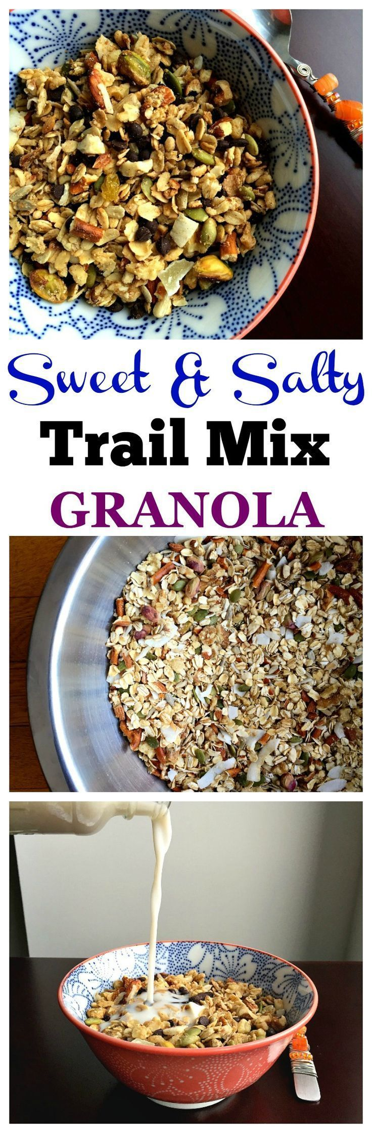 Süßes und salziges Trail Mix Granola   – ~ Vegetarian Recipes ~ – #Granola #Mi…