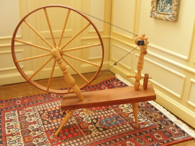 $350.00 GREAT SELLER! Warren Dick Spinning Wheel Handcrafted Artist Signed Dollhouse Miniature in Dolls & Bears, Dollhouse Miniatures, Artist Offerings | eBay