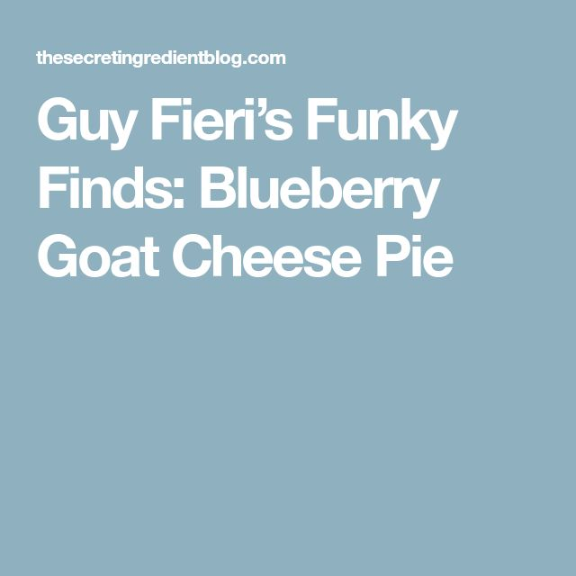 Guy Fieri's Funky Finds: Blueberry Goat Cheese Pie