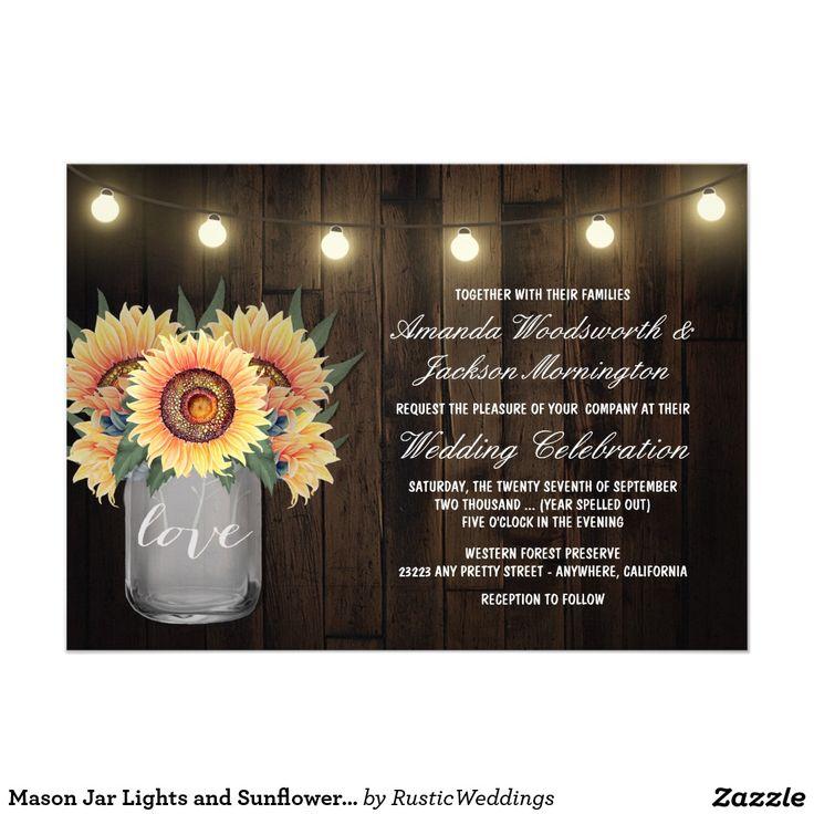 sunflower wedding invitations printable%0A Mason Jar Lights and Sunflower Wedding Invitations