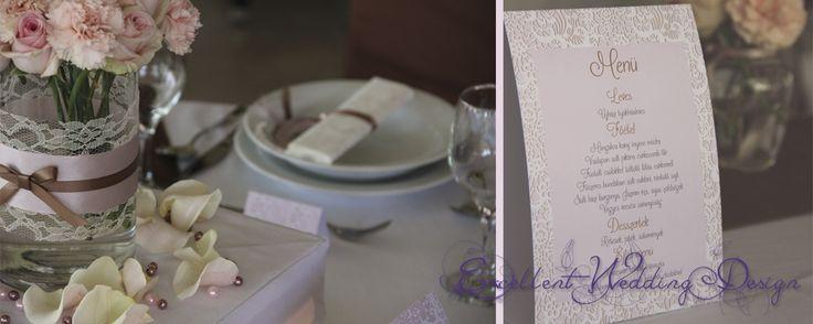 rózsaszín esküvői dekoráció- vendégasztaldísz