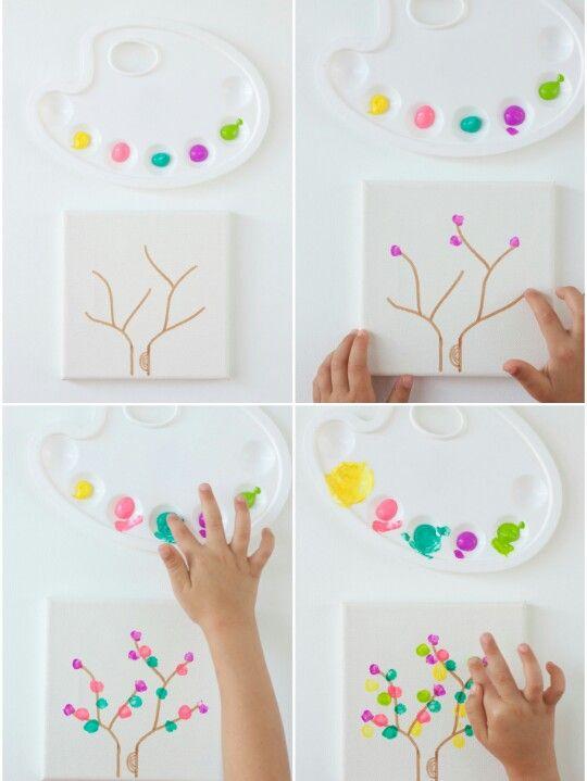 Çocukların en sevdiği etkinliklerden olan parmak boyamasinda ağacın dallarina dokunuşlar yaparak etkinliği tamamlamış olacağız :)