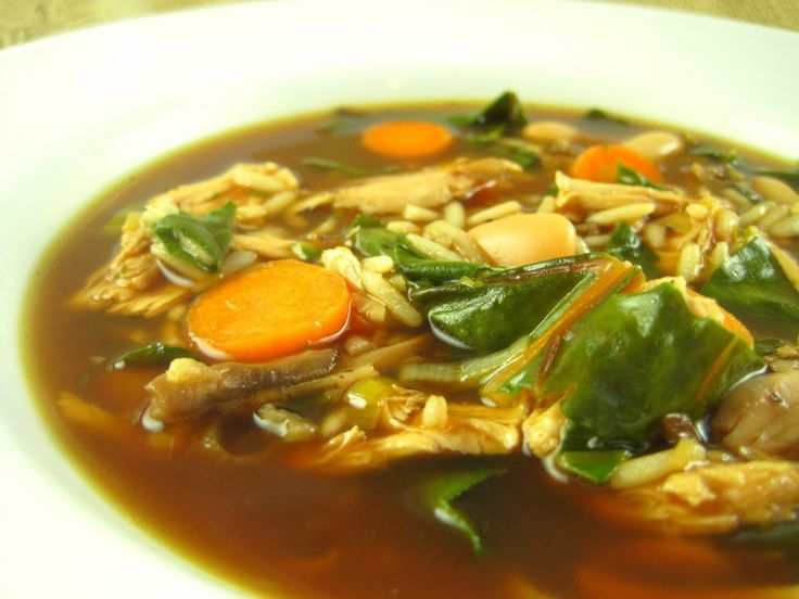 ... Rice and Rainbow Chard Soup with Shredded Chicken. This soup is