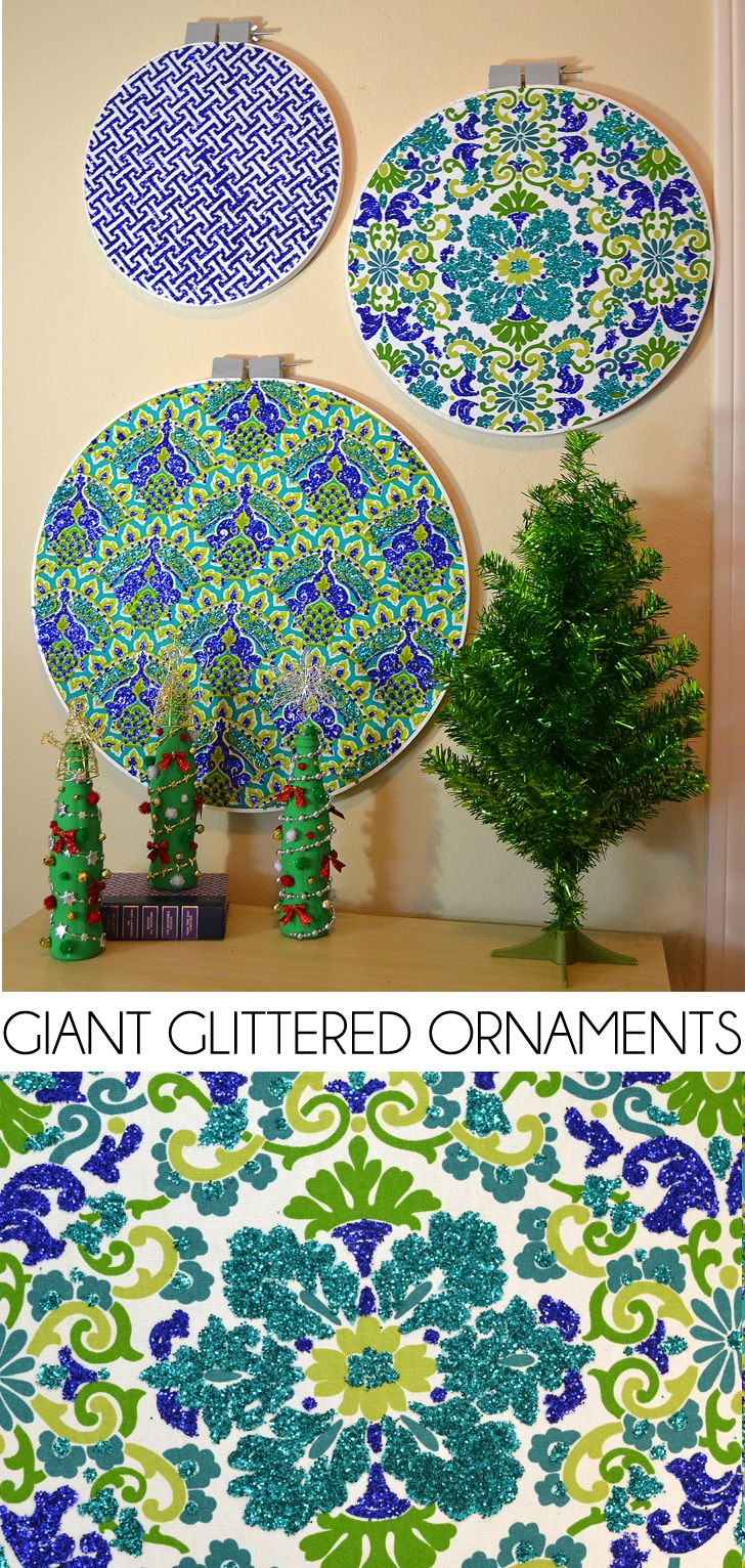 Make big ornaments for Christmas decor out of embroidery and quilting hoops. Fun! #DoTheMicroTwist#CollectiveBias #ad