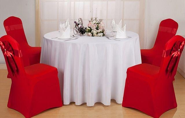 Toalha de mesa de poliéster branco, Toalha de mesa, Para casamento, Hotel e restaurante rodada de decoração, 200GSM material grosso