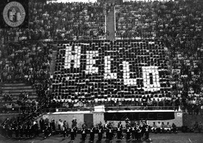 """Football fans spell """"Hello"""""""